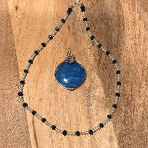 Accessories - Ocean Blue agate pendant with glass necklace #4
